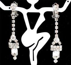 High End Clear Rhinestone Silver Dangle Clip Earrings Vintage Prom Wedding   eBay