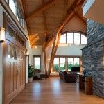 Vermont timber home entry/Timber Home Living