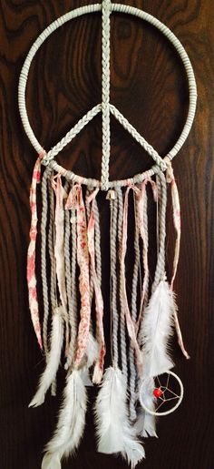 Leather Peace Sign with Mini Dream Catcher // Peace // White Leather // Hand Braided / Pink Vintage Material / Beads / White Feathers