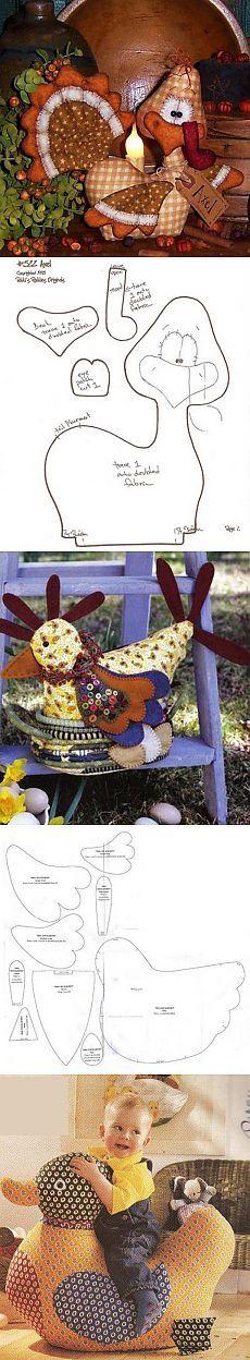Coser juguetes.  Turquía, pollo y pato.  patrón
