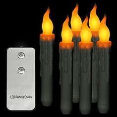 Micandle Set of 6 Led Taper Candles With Remote Control,Amber Flickering Flameless Candles For Christmas Dinner(Battery not Included)ps