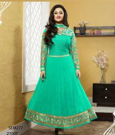 Rashmi Desai Turquoise Designer Floor Length Anarkali Suit Krishna Emporia (1)