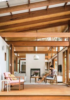 There are a lot of Scandinavian influences in this wooden living room, such as the exposed timber beams Nordic Interior Design, Container House Design, Australian Homes, Coastal Homes, Coastal Cottage, Coastal Living, Small House Plans, House In The Woods, Building A House