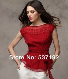 Fashionable loose chiffon shirt New 2014 Women's solid bow tops summer ladies all-match Blouse Fast Shipping 5 size 5 Colors