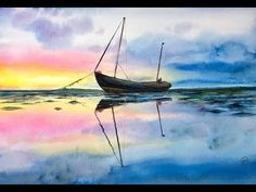 Watercolor Fisherman's Boat on a water Painting Tutorial - YouTube