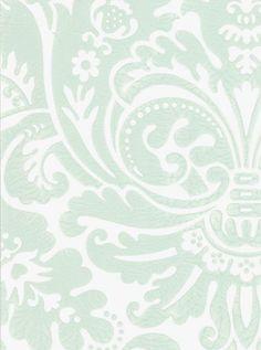 Silvergate Wallpaper Damask design wallpaper in aqua on off white