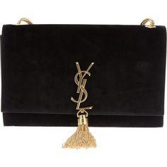 Saint Laurent tasseled clutch ($2,285) ❤ liked on Polyvore featuring bags, handbags, clutches, bolsas, purses, accessories, black, chain strap purse, black chain purse e black chain handbag