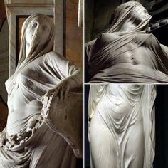 """Veil of Modesty""  Sculpture by Antonio Corradini   (Born 1688 – died 1752)"