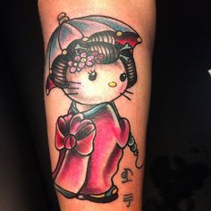 Hello Kitty by on DeviantArt Cool Arm Tattoos, Pin Up Tattoos, Friend Tattoos, Amazing Tattoos, Hello Kitty Keychain, Geek Perler, Hello Kitty Tattoos, Hello Kitty Images, Cat Tattoo