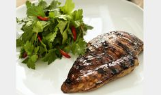 Grilled chicken breast liquorice, is made by massaging liquorice powder into the meat half an hour before frying. Add 1 tsp. liquorice syrup onto each breast as the are put onto the fire.