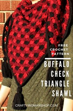 A free crochet pattern for creating a buffalo check (plaid) triangle shawl with optional tassels. Tutorial links included for this pattern! Plaid Crochet, Crochet Scarves, Crochet Shawl, Crochet Clothes, Free Crochet, Knit Crochet, Crochet Ideas, Crocheted Afghans, Crochet Projects