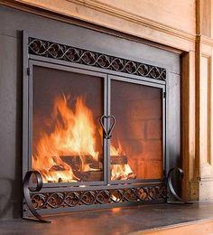 Fire Screen Double Doors Black Cast Iron Firescreen Fireplace Flat Guard Chimney
