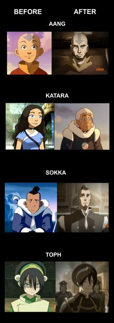 Team Avatar. I totally saw Toph with a long ponytail, just saying... Still awesome.
