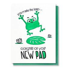 Amazon.com: Funny Housewarming Letterpress Card Congrats on Your New Pad Leaping Frog: Handmade Valentine Day Kiss, Housewarming Card, New Home Cards, White Crane, Pun Card, Funny New, Custom Stationery, Letterpress Printing, Blank Cards