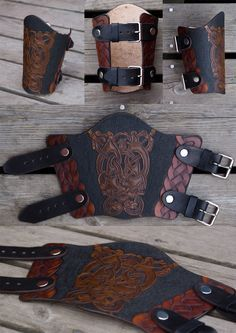 Leather Bracer Oseberg by Wodenswolf.deviantart.com on @deviantART