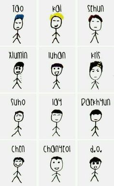 Kris' drawings... They are all simple drawings but show a lot of EXO's characteristics...