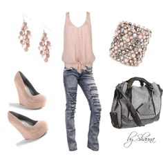 Destroyed denim with Steve Madden platform wedge, created by shauna-rogers on Polyvore