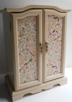 Upcycled Hand Painted Vintage Musical Jewelry Armoire