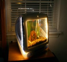 Creative ideas to recycle your Apple iMac - Designer Jake Harms came up with this unique idea of transforming a discarded iMac monitor into a live aquarium. He removed the wires, ports and circuits inside and installed LED lights all around the screen. He soldered the joints and corners of the monitor so that there was no seepage of water. He then decorated the interior with water plants, stones and decorative pieces like an aquarium, adding fish and water.