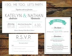 I do Me Too Let's Party Wedding Invitation by RAWkonversations