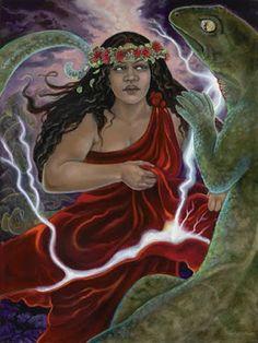 Hi'iaka the Hawaiian resurrection Goddess, Spirit of Sorcery. Fertility, and dance ~ Linda Rowell Stevens Hawaiian Legends, Hawaiian Art, Hawaiian Tattoo, Hawaiian Tribal, Hawaiian Mythology, Hawaiian Goddess, Gaia, Vikings, Strange Weather