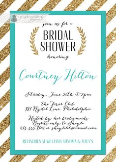 Teal & Gold Bridal Shower Invitation Gold by digibuddhaPaperie