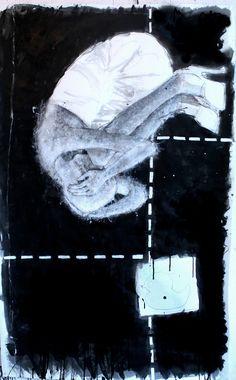 ` Lege ruimte van de angst`  , mixed media on paper, 175x86cm.