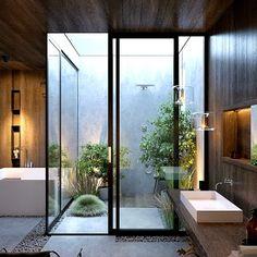Outdoor Bathrooms 447615650465324735 - Top Trends 2019 in Modern Bathroom Design, Creating Spaces with Zen Spa Vibe Source by Modern Bathroom Design, Bathroom Interior Design, Modern House Design, Decor Interior Design, Modern Luxury Bathroom, Design Furniture, Bath Design, Bathroom Designs, Modern Furniture