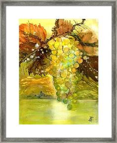 Chardonnay Grapes in sunlight Framed Print by Sabina Von Arx Framed Prints, Poster Prints, Canvas Prints, Art Prints, Painting Techniques, Watercolor Paintings, Vegetable Painting, Autumn Lights, Green Grapes