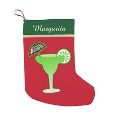 Personalized Margarita Party Cocktail Glass Christmas Stocking This design features a margarita cocktail glass in green with a lime and cocktail umbrella. This margarita party animal design makes a great gift for your Margarita mom or a bartender at your favorite bar or club or home bar ! #margarita #cocktail #party