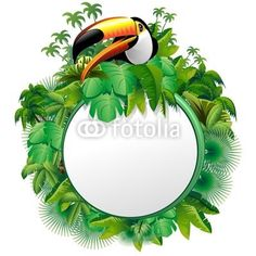 ☆SOLD!☆ #Awesome #Toco #Toucan on #Jungle - #round #Label #Background-#Vector © bluedarkat   http://it.fotolia.com/id/38602033#