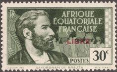 "French Euatorial Africa  1940-41 30c gray & green ""Pierre Savorgnan de Brazza"" carmine overprint ""Libre"""