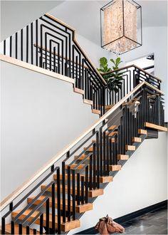Beautiful design, but a little heavy. Perhaps a thinner railing. Stunning Stair Railings | Centsational Girl