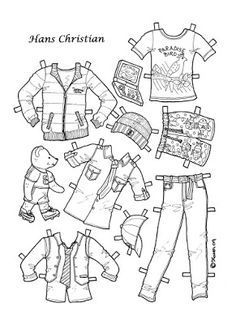 Karen`s Paper Dolls: Hans Christian 1-4 Paper Doll to Colour. Påklædningsdukke…