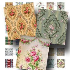Wallpaper Digital Collage Sheet - Digital Download - Vintage Patterns Scrabble Size (1) - Buy 3 sheets & get 4th FREE - INSTANT Download