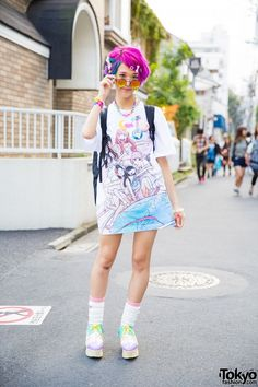 Harajuku Girl w/ Colorful Hair, Dempagumi.inc Dress, 6%DOKIDOKI & Cosmic Magicals