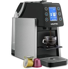 Gourmia One Touch Multi Capsule Coffee Machine - Compatible With Nespresso, K-Cup pods & More - Adjustable Temperature & Cup Size - Digital Display - Demi Shot-Glass Tray - - Silver Best Espresso Machine, Cappuccino Machine, Espresso Maker, Espresso Cups, Espresso Coffee, Coffee Maker, Italian Espresso, Coffee Mugs, Coffee Lovers