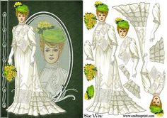 Lady in Victorian Summer Gown Fashion Reflections Decoupage