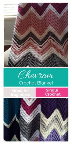 I am so excited about this Chevron Crochet Blanket pattern. If you can count to 14 and single crochet - you can make this Chevron Crochet Blanket Pattern Crochet Afghans, Crochet Ripple Afghan, Crochet Stitches Patterns, Crochet Baby, Single Crochet, Crocheting Patterns, C2c Crochet, Baby Afghans, Crochet Toys