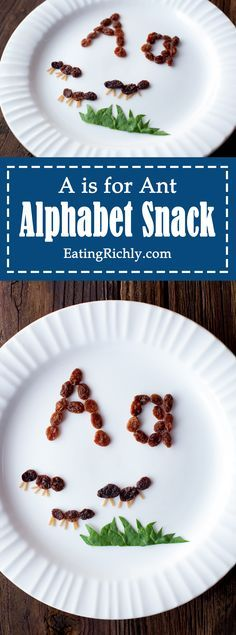 Easy alphabet kids snacks create a fun edible learning experience and preschool reading introduction. These raisin ants teach kids that A is for Ant. From http://EatingRichly.com.