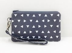 Gray Triangles Wristlet Wallet Cell Phone Wristlet by ZestyNotion
