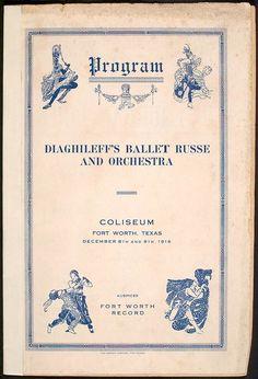 program ballet russe, ft worth texas, 1916