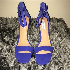 TODAY ONLY!  Cobalt Blue Ankle Strap Sandals Beautiful blue ankle strap sandal by Steve Madden. Brand new in box Steve Madden Shoes Heels