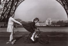 Best roller skates EVER! Little French girls playing beneath the Eiffel tower.