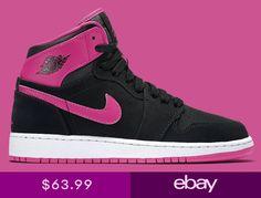 huge discount 2ecd0 6d421 Nike Air Jordan 1 Retro GS BLACK VIVID PINK VALENTINES DAY 332148-008 sz 8Y