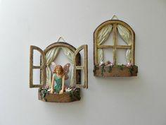 Fairy Garden Accessories Window SET OF 2 - miniature garden accessory - fairy garden supply - miniature garden supplies - fairy figurine