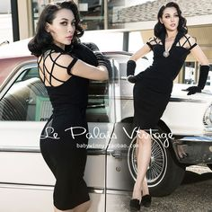 Material: Polyester,Spandex Style: Vintage Silhouette: Straight Pattern Type: Solid Sleeve Length: Short Decoration: Hollow Out Dresses Length: Knee-Length Sleeve Style: Regular Waistline: Empire Neck