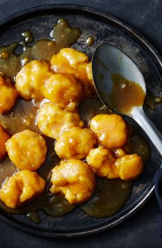 With a sweet and salty caramel sauce, these golden dumplings are perfect for a cosy night in. Winter Desserts, Golden Syrup, Special Recipes, Sweet And Salty, Dumplings, Puddings, Pastries, Dinnerware, Caramel