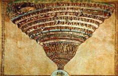 La carte de L'enfer, la frontispice de l'œuvre de Dante par Sandro Botticelli 1496