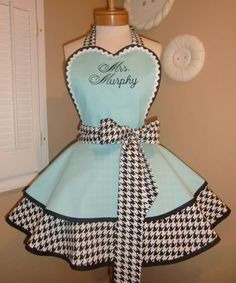 Houndstooth Womans Retro Apron Featuring Heart by mamamadison, $85.00